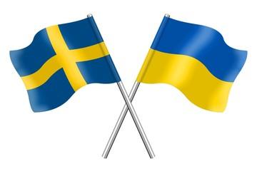 Flags: Sweden and Ukraine