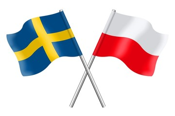 Flags : Sweden and Poland