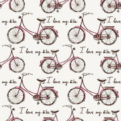 Seamless with hand drawn bicycles