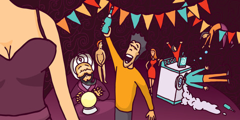 Bizarre and fun cartoon wild party
