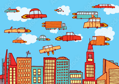 Future cars flying over the city - 69381695