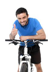 sport man riding mountain bike training giving thumb up