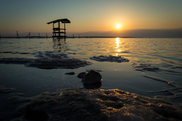 Sunrise over the Dead Sea.
