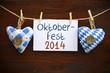 canvas print picture - Stoffherzen mit Schild und Oktoberfest 2014