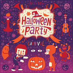 Funny Halloween party invitation postcard, poster or background.