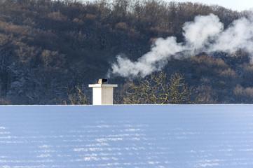 Abgasbelastung durch Wohnhäuser im Winter