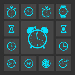 Blue clock icons set