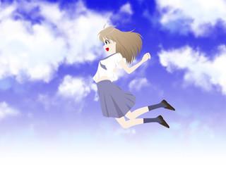 ジャンプする学生 青空背景付き