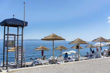 Ombrelloni a Rabac Croazia Spiaggia