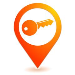 clef sur symbole localisation orange