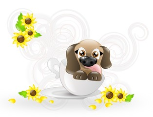 Cute puppy in cup decorated with sunflowers