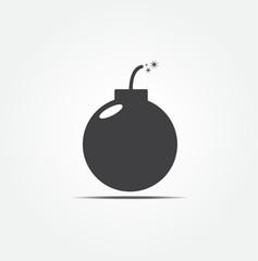 retro black bomb icon vector