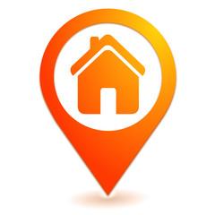 maison sur symbole localisation orange