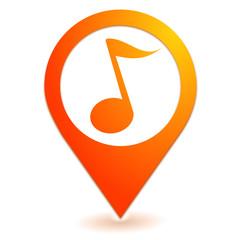 note de musique sur symbole localisation orange