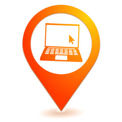 ordinateur portable sur symbole localisation orange