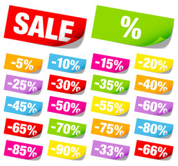 "Sticker Tags Set ""Sale"" Minus Red Color"