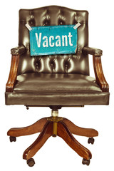 Retro office chair with vacant job sign isolated on white