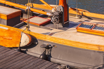 Detail of a Dutch classic wooden sail boat
