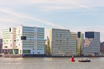 Contemporary office buildings in Amsterdam center