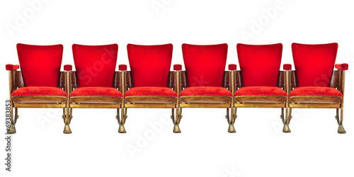 Row of six vintage cinema chairs isolated on white - 69383853