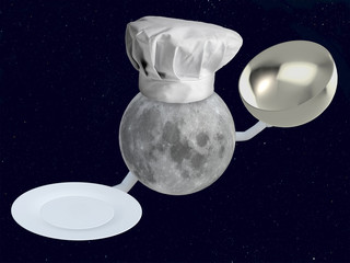 moon chef with dish