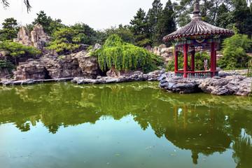 Red Pavilion Pond Temple of Sun City Park Beijing