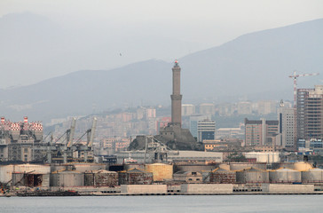 Industrial and cargo port and city. Genoa, Italy