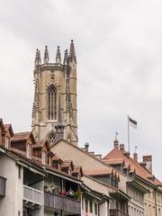 Fribourg, Altstadt, historische Kathedrale, Sommer, Schweiz