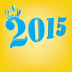 2015 Text with crown on yellow background