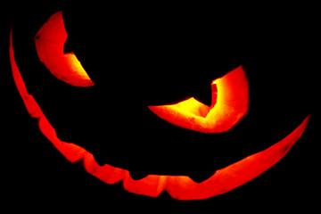 Scary face of Halloween pumpkin