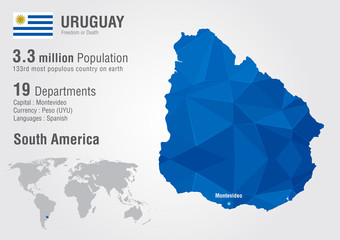 Uruguay world map with a pixel diamond texture.