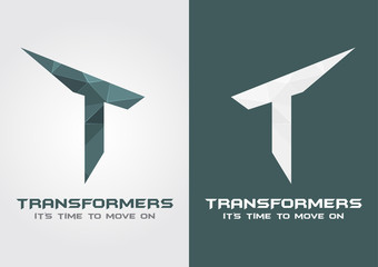 T Transformers icon symbol from an alphabet letter T.