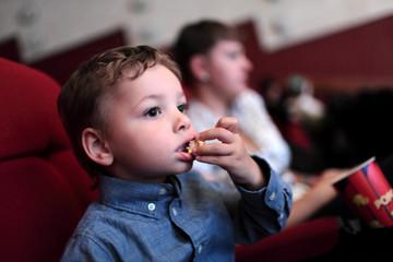 Child has popcorn
