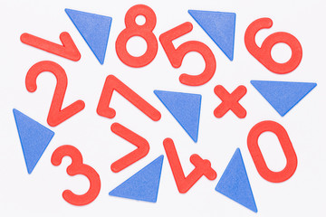 red numbers and blue triangles