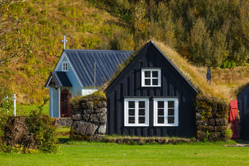 Traditional icelandic houses in Skogar Folk Museum, Iceland