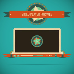 Retro vintage video player interface for web.