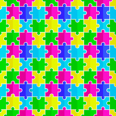 seamless texture of colored flat puzzle icon