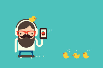 hipster brown bearded man with cellphone