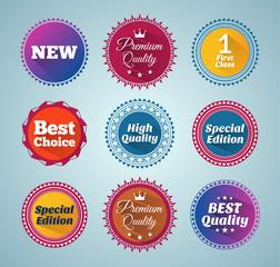 Round flat style promotion badges. EPS10.