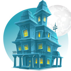 haunted house on a background of the moon