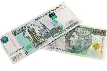 Russian and Polish banknotes