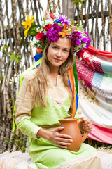 Beauty woman with a wreath on head