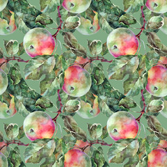 Apple, pattern on a green background, seamless