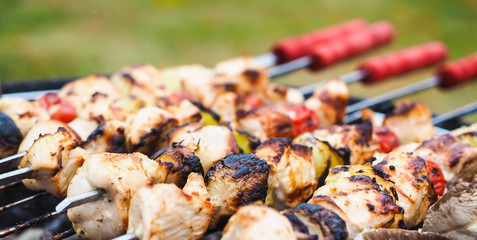 Closeup of a barbecue with chicken  and vegetables on spear