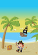 Cartoon pirate boy on a beautiful tropical beach