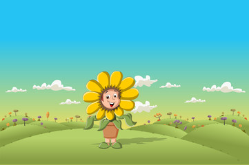 Sunflower cartoon girl on green park