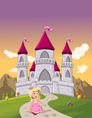 Cute cartoon princess girl in front of a fairy tale castle