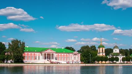 Vacationers go boating about Kuskovo palace