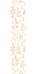 Textile textured fall leaves vertical seamless pattern