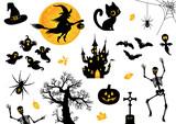 Halloween, Icon, Sammlung, Vektor, schwarz, orange - 69392684
